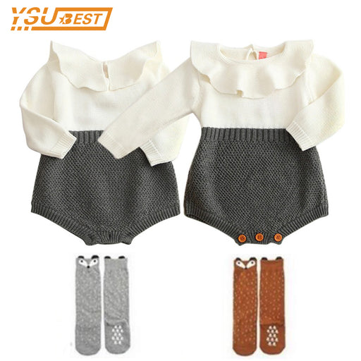 Baby Girls Long Sleeve Jumpsuits Baby Rompers Ruffles Princess Girl Sweet Knitted Overalls Infant Romper - KiddyLanes