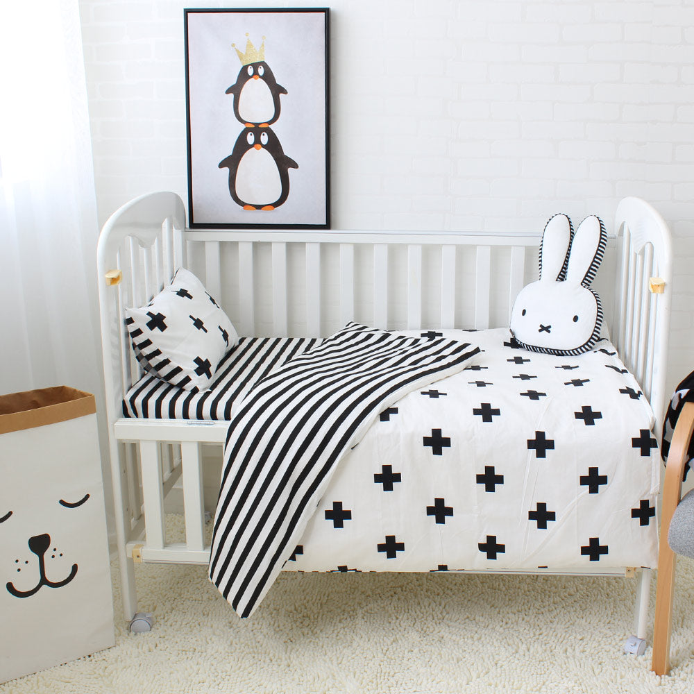 3Pcs Baby Bedding Set Cotton Crib Sets Black White Stripe Cross Pattern Baby Cot Set Including Duvet Cover Pillowcase Bed Sheet - KiddyLanes