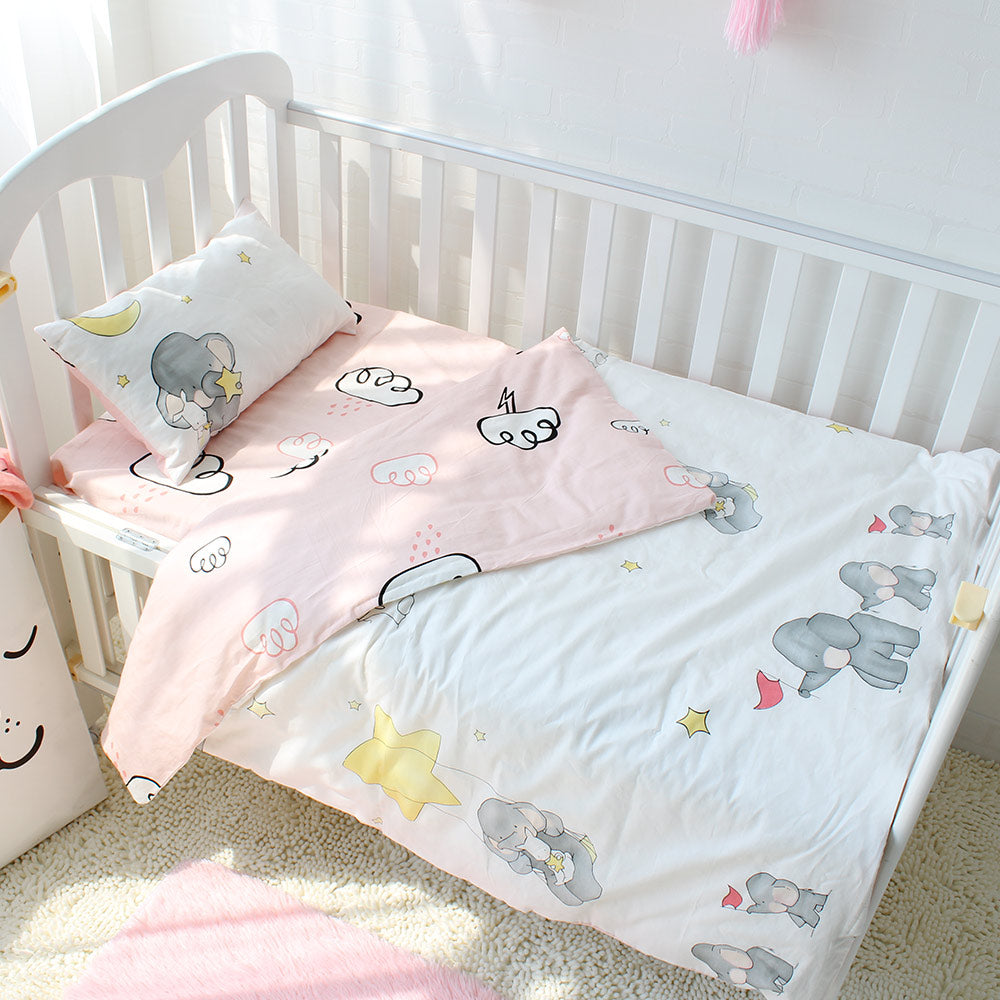 3pcs/set 100% Cotton Baby Bedding Set Elephant Cloud Pattern Baby Bed Linen For Girls Including Duvet Cover Pillowcase Bed Sheet - KiddyLanes