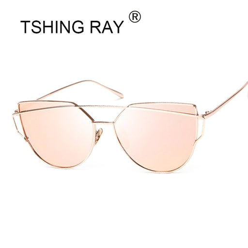 TSHING Fashion Children Cat Eye Sunglasses Boys Girls Brand Designer Mirror Cateye Sun Glasses Retro For Kids UV400 - KiddyLanes