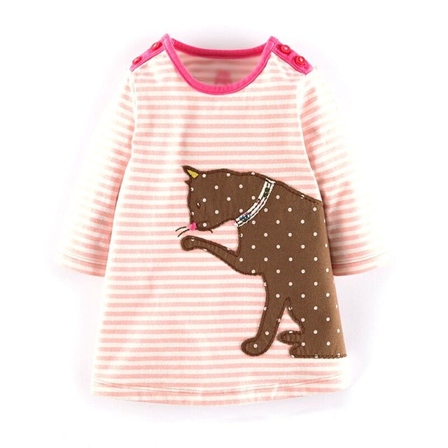 Kidsalon Long Sleeve Dress Girls Clothes Winter Kids Dresses for Girls Animal Applique Princess Dress Children Jersey - KiddyLanes