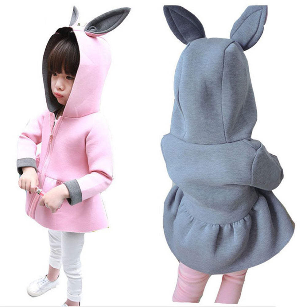 Fashion Autumn Girls Coats Baby Air Cotton Jackets Cute Bunny Ears Coat Spring Girl's Clothes Hoodied Christmas Gift Pink Coats - KiddyLanes