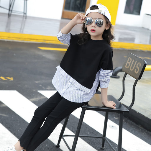 Stripes Patched Kids Girls Blouse Long-sleeve Shirt for Girls Tops and Blouses - KiddyLanes