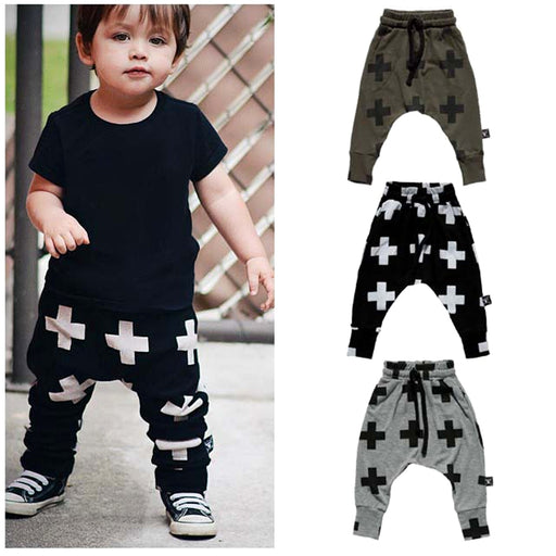 Kids Unisex Trousers Boys Harem Pant Cross Star Children's Girls Clothing Cotton Full Pencil Trousers Unisex Baby Pants - KiddyLanes