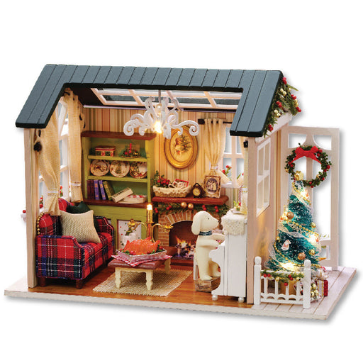 Holiday Time Handmade Furniture Doll House Assemble Kits Diy 3D Wooden Miniaturas Dollhouse Toys for Christmas Birthday Gift