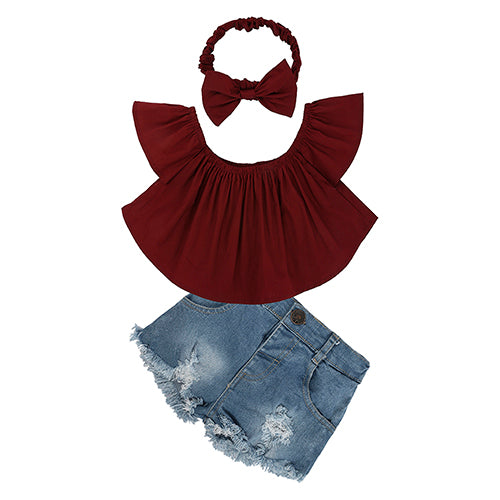 Children Sets for Girls Fashion New Style Girls Suits for Children Girls T-shirt  + Pants + Headband 3 Pcs - KiddyLanes