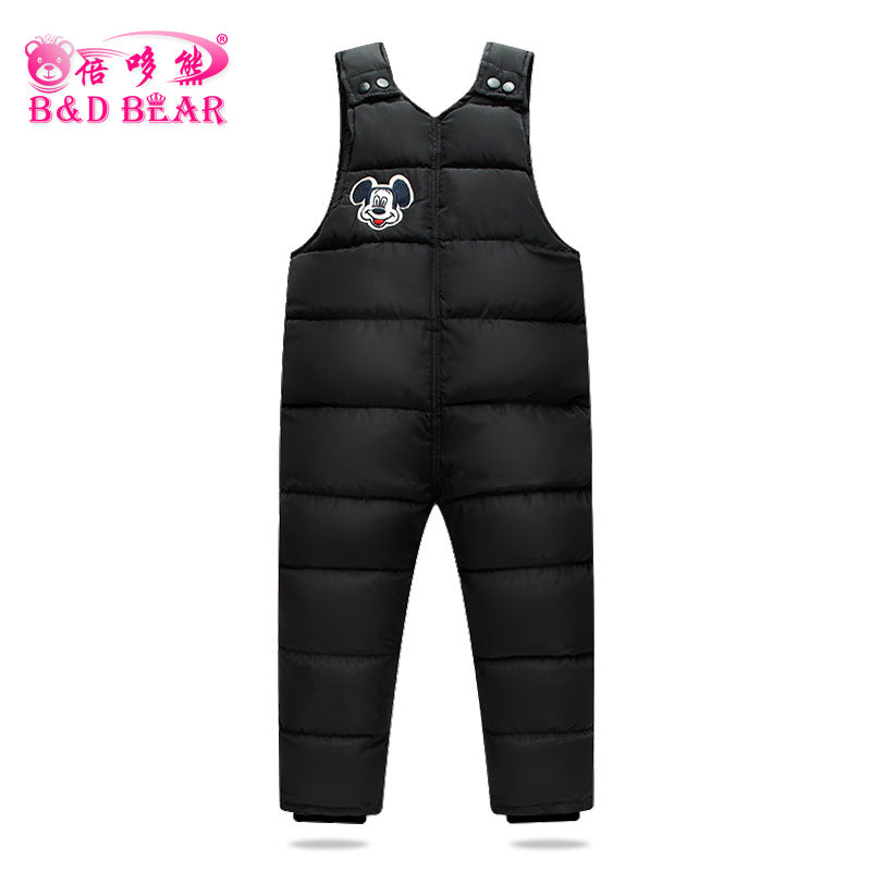 1-6 T Children'S cotton-padded clothes Pants Baby Boys Outside Winter Girls Bib Overalls Kids Trousers Thick warm Vest Windproof - KiddyLanes