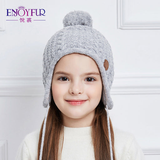 ENJOYFUR Ages 2-8 baby hat Children Winter Hats For Girls&Boy Cotton Thick Warm Knitted Ears Beanie Fox Fur Pompom Cap - KiddyLanes