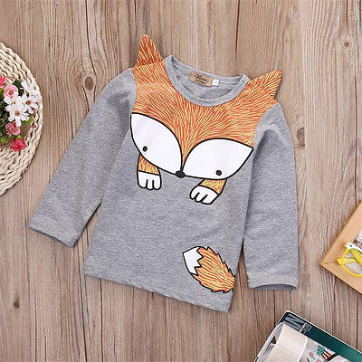Spring Autumn Cute Newborn Infant Baby Fox Print Tops Long Sleeve T Shirt - KiddyLanes
