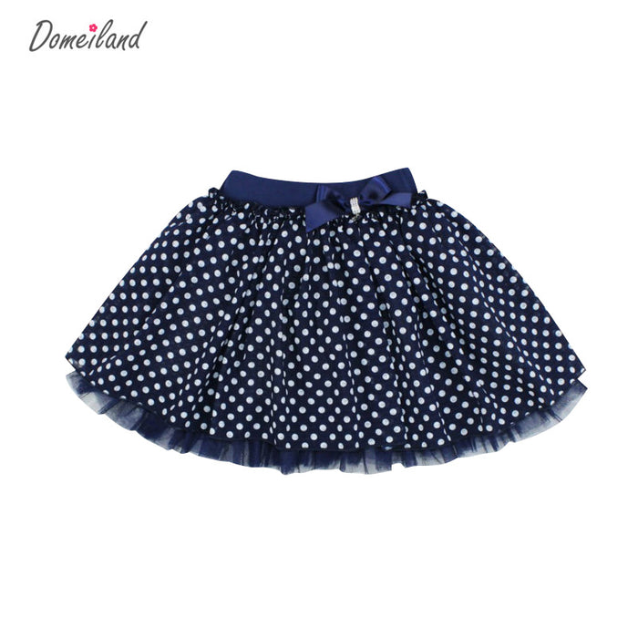 Fashion Summer domeiland clothing Children girls baby kids print bow Dot Tutu cotton Skirts Chiffon party princess Skirt - KiddyLanes