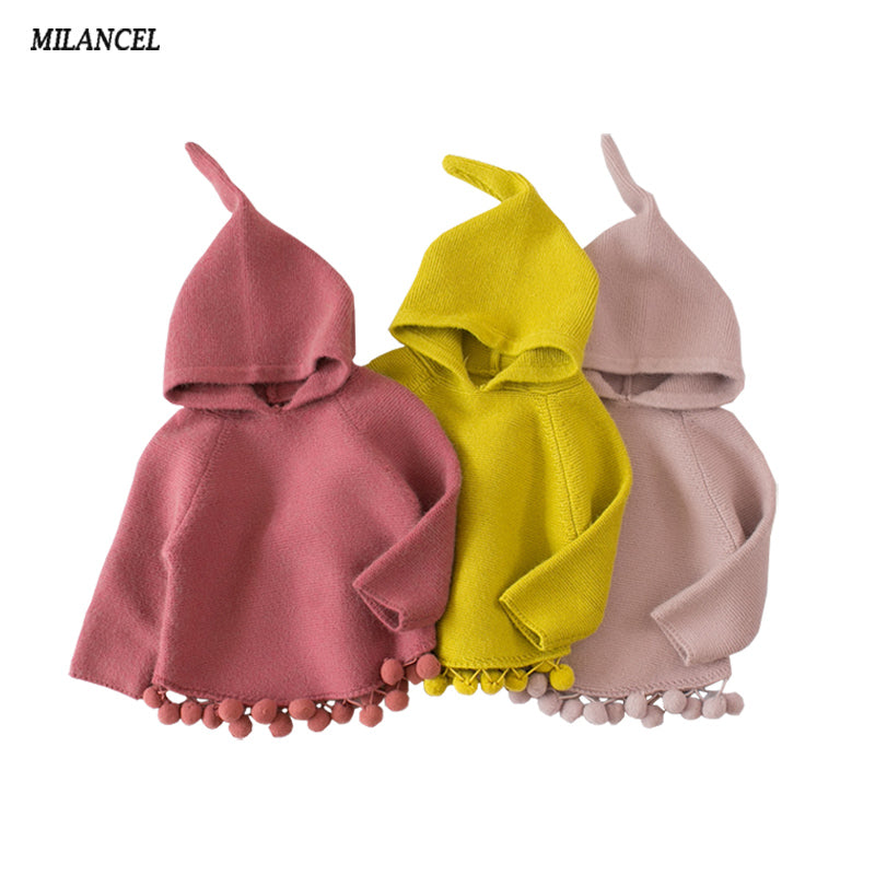Milancel Children's Sweaters Hooded Girls Knitted Sweater Autumn Winter Toddler Sweaters - KiddyLanes