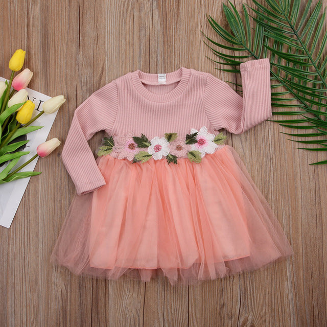 Princess Baby Girls Kids Toddler Mini Long Sleeve Floral Tutu Dress Party Wedding Birthday Pageant Prom Dresses Sundress 0-3Y - KiddyLanes