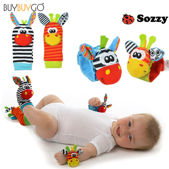 4pcs Limited Unisex New Fashion Cute Baby Socks Animal Cartoon Hand Wrist Bells Christmas Cotton Boy Girl Infant Rattles Sock - KiddyLanes
