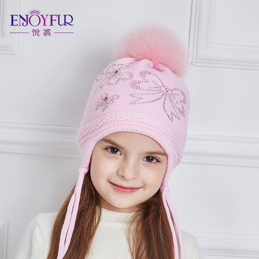 ENJOYFUR Rhinestones Bow-Knot Children Winter Hats Real Fox Fur Pompom Knitted Hat Girl Beautiful Pink Girls Beanies Autumn Caps - KiddyLanes