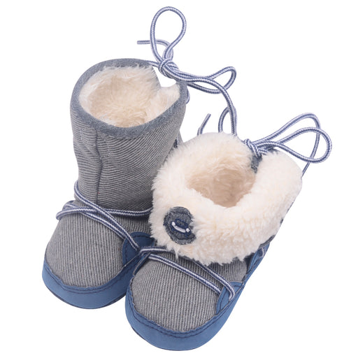 0-18M Winter Warm Baby Boys Snow Boots Lace up Strip Soft Sole Kids Cotton Adorable Infant Toddler Shoes - KiddyLanes