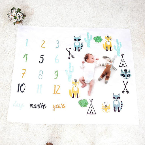 Baby Blanket Photo Newborns Swaddle Stroller Bedding Wrap Background Monthly Growth Number Photography Props Outfits - KiddyLanes