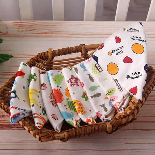 Baby bibs High quality triangle double layers cotton baberos Cartoon Character Animal Print baby bandana bibs dribble bibs - KiddyLanes