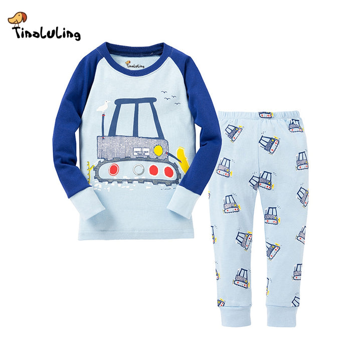 TINOLULING Kids Cars Pajamas Full Sleeve Pyjamas Boys Truck Pijamas Baby Cotton Sleepwear Children Top+Pants 2pcs Clothing - KiddyLanes