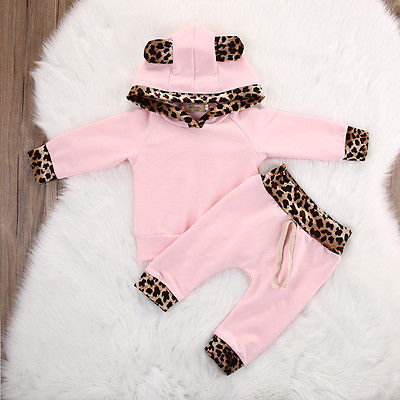 Unisex 2Pcs Spring Autumn suit Newborn baby clothing sets Baby Pink Long Sleeve leopard Hoodie Sweatshirt+Pants Outfits Set - KiddyLanes