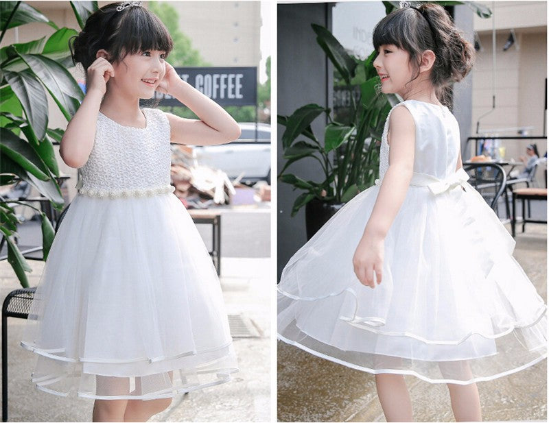 Cielarko Girls Dress Mesh Pearls Children Wedding Party Dresses Kids ...