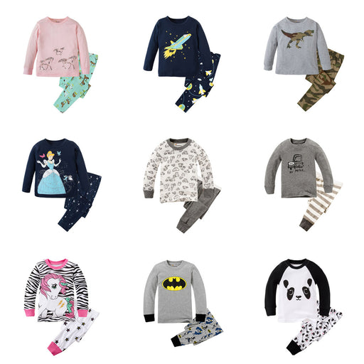 Brand New Pyjamas Baby Boys Sleepwear Kids 100% Cotton Long Sleeve Fashion Cartoon Panda Pajamas For Girls - KiddyLanes
