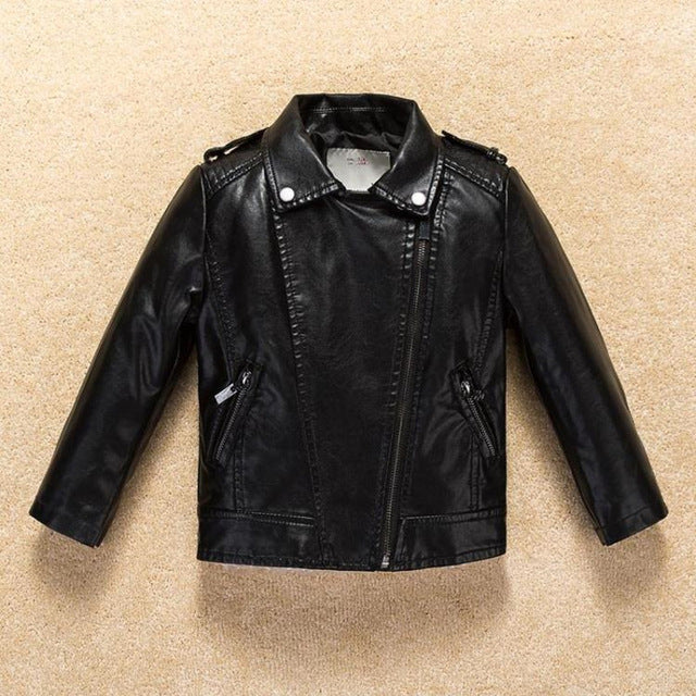 5fc77a07210b06 Kids Infant Jacket Coat 2017 PU Leather Girls Jackets Clothes Children  Outwear For Baby Girls Boys