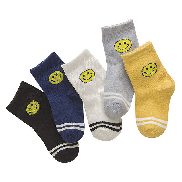 5 Pair/lot New Soft Cotton Boys Girls Socks Cute Cartoon Pattern Kids Socks For Baby Boy Girl 7 Kinds Style Suitable For 1-10Y - KiddyLanes