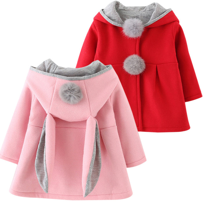 Autumn Winter Baby Outwear Infants Girls Cute Rabbit Hooded Princess Jacket Coats with Ball Christmas Gifts New Year Clothe - KiddyLanes