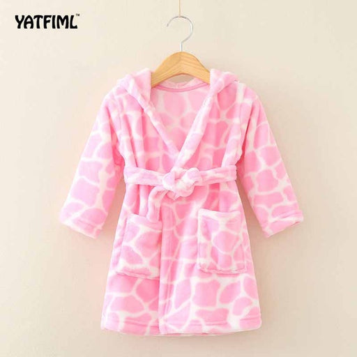 New Soft Children's Robes for 2-6Yrs Baby Kids Pajamas Boys Girls Cartoon Sleepwear Bathrobes Kids Hooded Baby Robes - KiddyLanes
