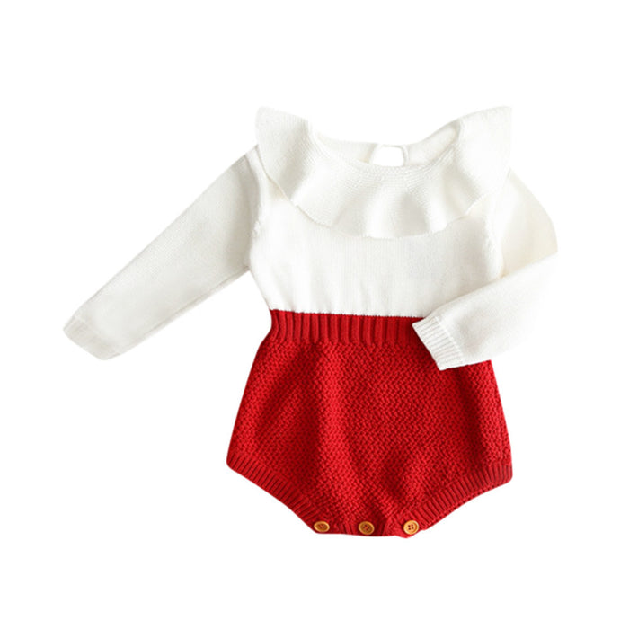 fbc381d9f8eb5 Kids Girls Romper long sleeve Baby Knitted Sweater Winter Princess Romper  Jumpsuit Baby Clothes