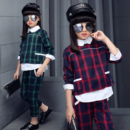 Girls Plaid Blouses + Pants Clothing Sets - KiddyLanes