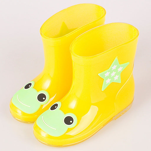 ActhInK New Design Kids Cartoon Rainboots Baby Girls Antiskid Wellies with Cotton Velvet Boys Autumn Winter Warm Rain Boots,S009 - KiddyLanes