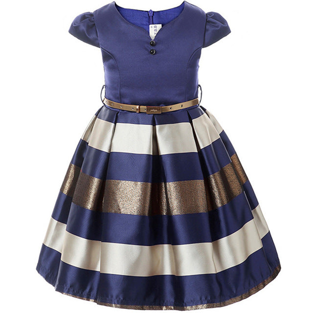 Girl Dress New Bow Stripes Princess Dress Of Girls Baby Girl