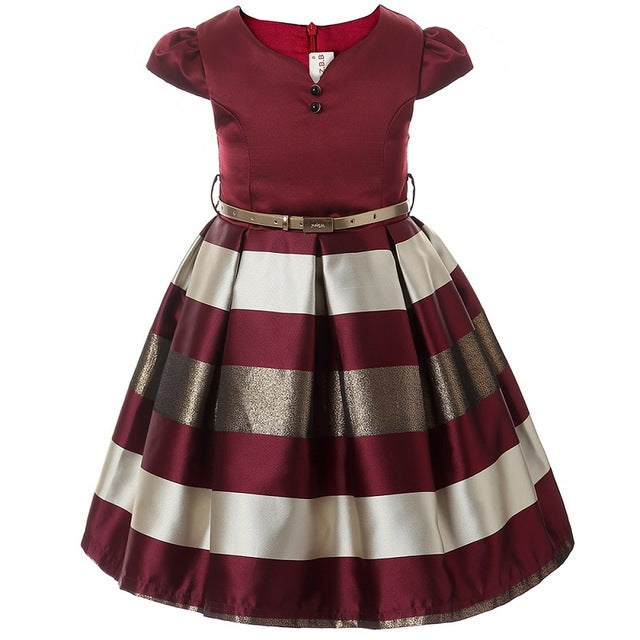 Girl dress New bow stripes princess dress of girls Baby girl reception formal dresses girl party dress  2017 Christmas clothes - KiddyLanes