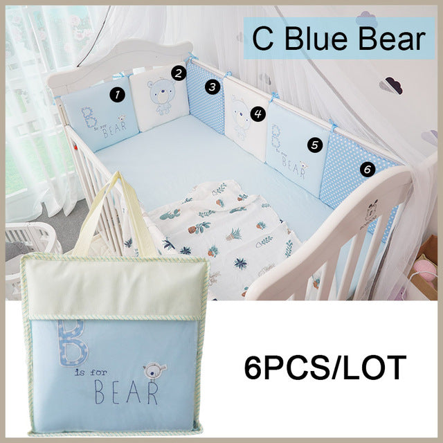6Pcs/set Infant Baby Bed Bumper Cotton Bed Crib Cushion Protector,100% Cotton Baby Boys and Girls Unisex Cartoon Bumpers 30*30*6 - KiddyLanes