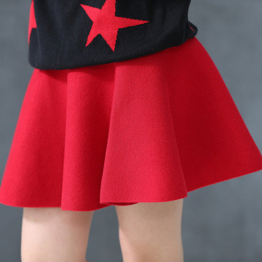 New Fall and Winter Children's Clothing Girls Fashion Casual Knit Skirt Bottoming Pearl Princess Tutu Skirts Wild Child - KiddyLanes