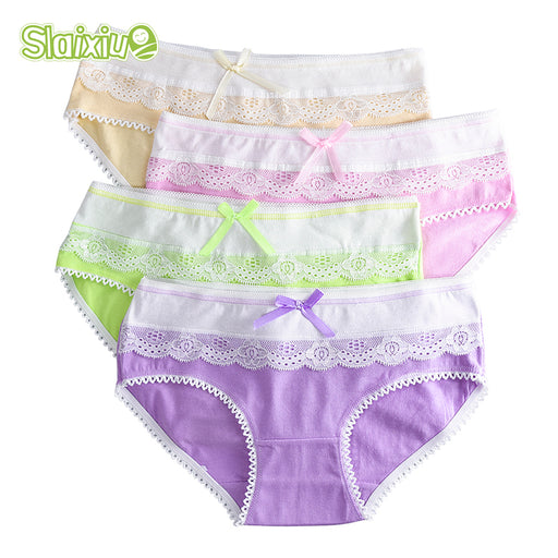 4-Pack Teenage Lace Pants Underpants Floral Young Girl Briefs Candy Colors for Girls Short Panties Kids Underwear 9-20Y - KiddyLanes