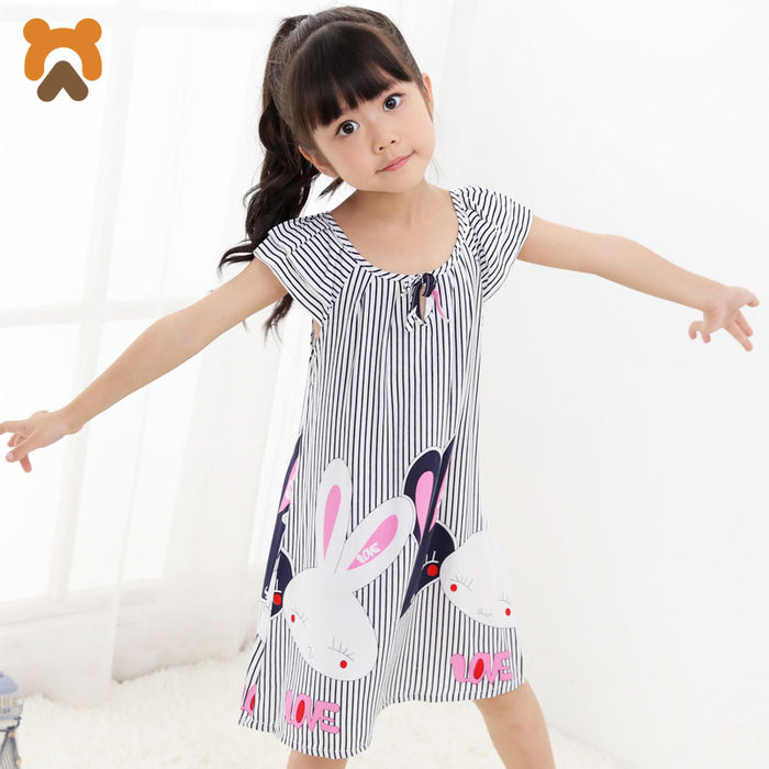 Girls Princess Nightgowns Short Sleeve Striped Modal Nightdress Girls Knitted Pajamas Sleepwear Kids Girl Nightgown Factory - KiddyLanes