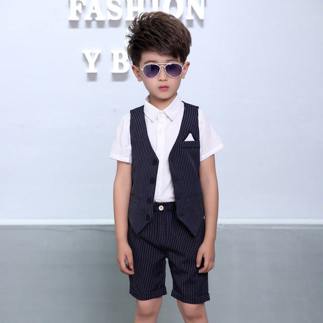 New Boys Striped Vest Suit for Wedding Children Summer Formal Vest+Sho