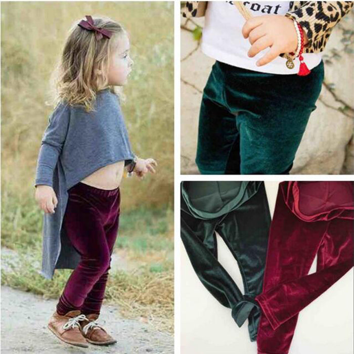 New Children Pleuche Leggings 2-5yrs Baby Girl Leggings Spring Autumn Brand Children Girl leggings Retail Green Red - KiddyLanes