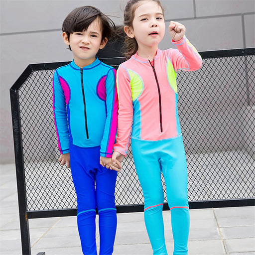 Child Swimwear One Piece Boys Girls Long Sleeves Long Pants Swimsuits Kids High Quality Diving Swimming Suit M-3XL - KiddyLanes