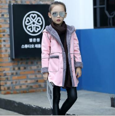 Winter Girls coats Kids fur Wool Jackets Girl Snow Outerwear Outdoor kids clothes Red/Pink/Purple Overcoats - KiddyLanes