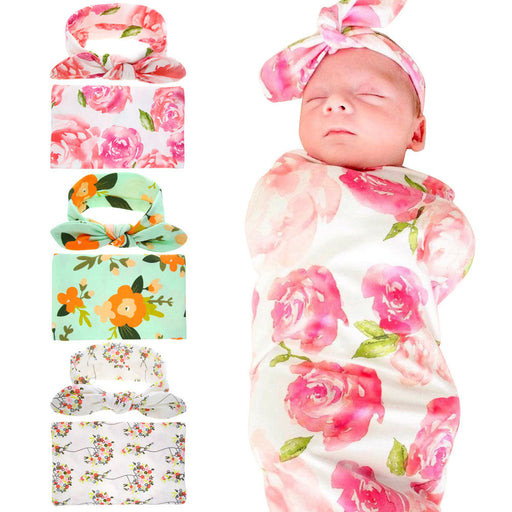 Adorable Newborn Infant Baby Swaddle Blanket Baby Sleeping Swaddle Muslin Wrap Headband Floral Baby Blankets 3Color - KiddyLanes