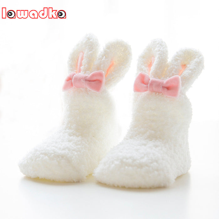 Lawadka Winter Coral fleece Baby Girls Socks Newborn Soft Cute Rabbit Baby Socks S(0-11M)andM(12-24M) - KiddyLanes