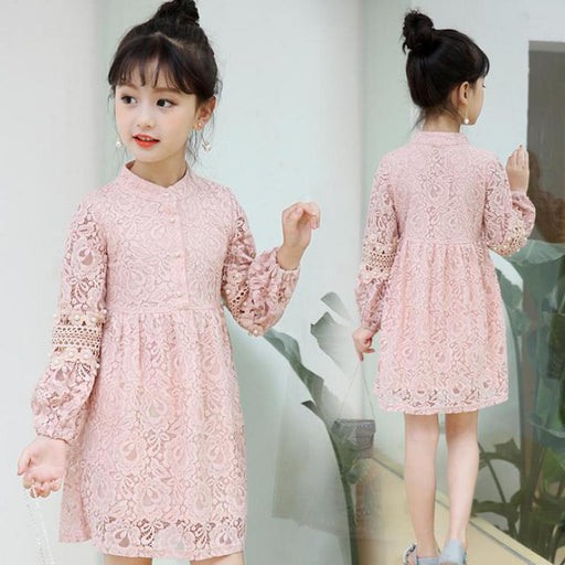 Teenage Girls Lace Dress Princess Tulle Dresses Kids Vintage Style Dress Children Boutique Costume Birthday Gift - KiddyLanes