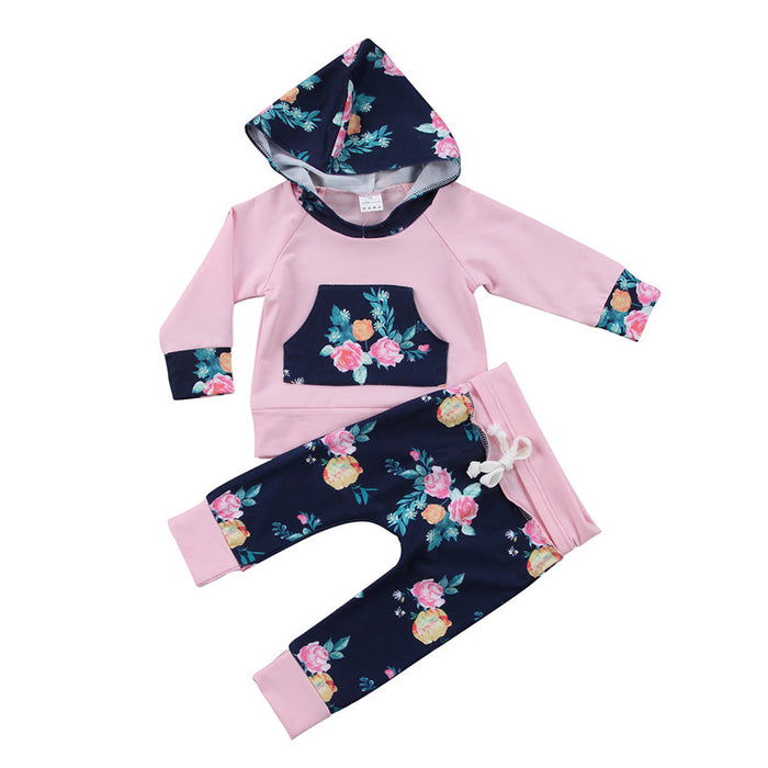 Pudcoco  Newborn Infant Baby Girl Autumn Clothing Set Floral Hoodies Tops Sweatshirt Long Pants trousers 2pcs Outfit Clothes Set - KiddyLanes