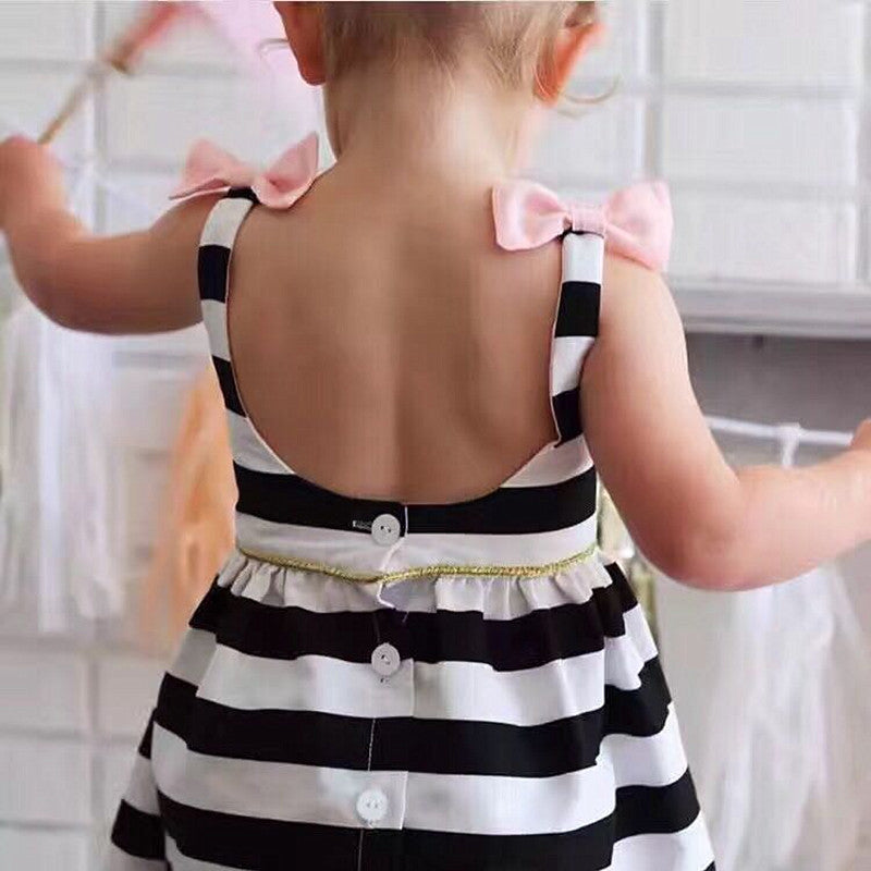 Baby Girls Dress Summer Stripe Dress Baby Dressing for Party Holiday Black and White with Bow Kids Clothes Girls Cute Brand - KiddyLanes