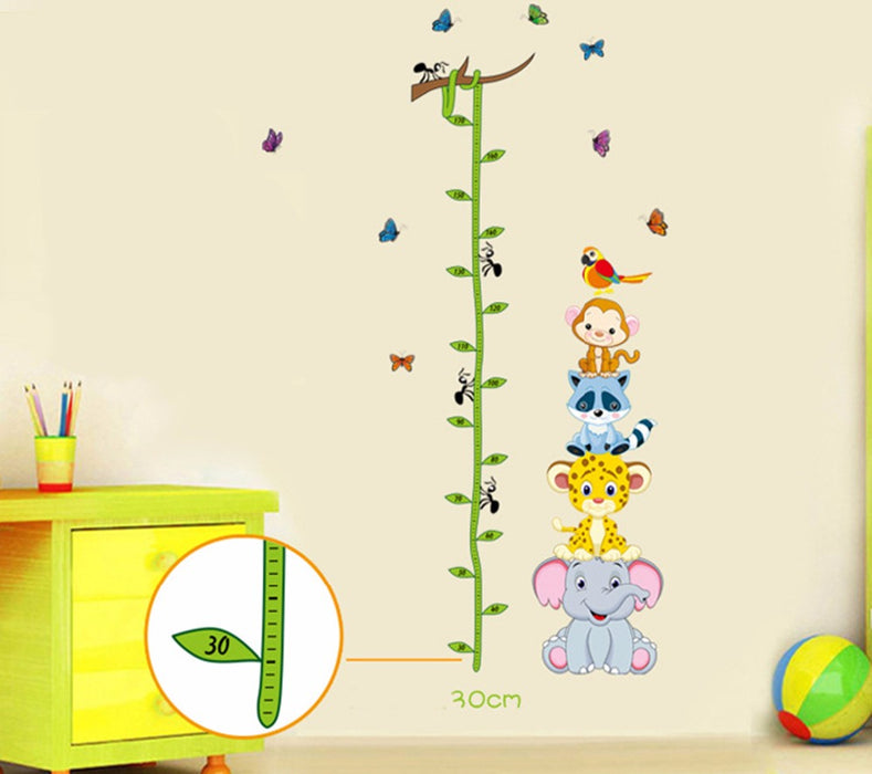 Cute animals stacked height measuring wall stickers