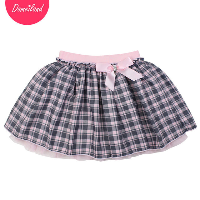 Fashion spring brand domeiland Kids Girls clothing Tutu plaid Skirt For Cotton Bow Children beautiful Pleated Skirt clothes - KiddyLanes