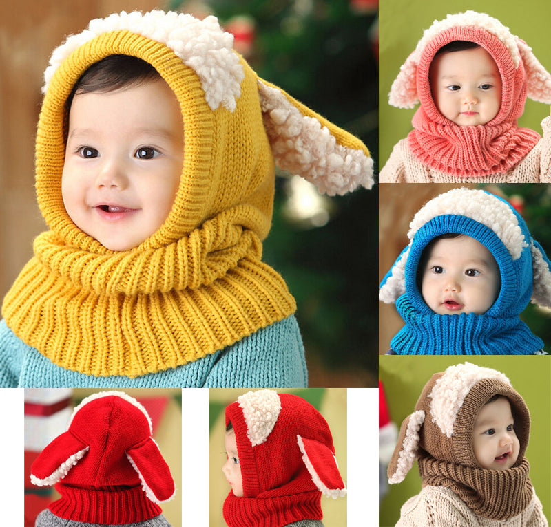aa2c918b004 Baby Toddler Girls Boys Warm Hat Winter Beanie Hooded Scarf Earflap Knitted  Cap - KiddyLanes